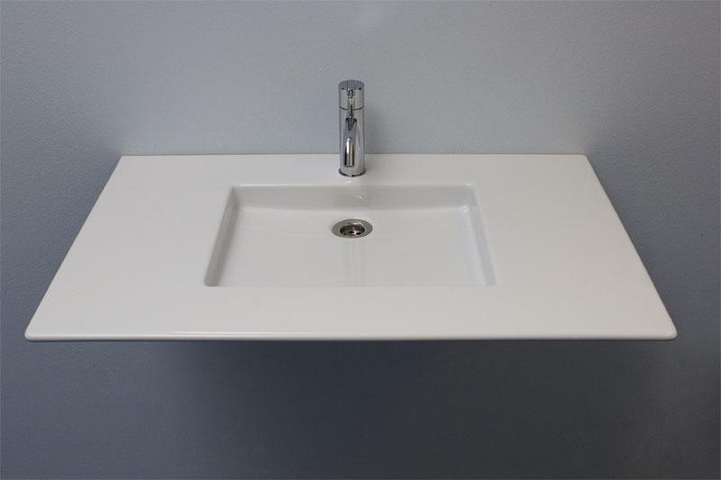 Lavabo rectangular de cer mica para ba os modernos for Lavabo rectangular