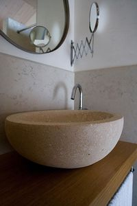 Ellisse collection, Lavabo redondo de piedra de Vicenza