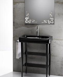 FUSION 65 DELUXE BASIN, Lavabo de cerámica con la consola de metal y vidrio