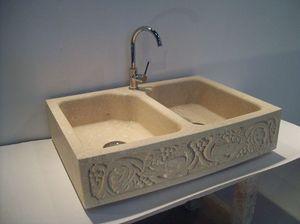 Venezia, Doble lavabo de piedra de Vicenza, para la cocina