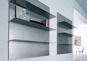 ALL comp.01, Estanterías lineales para sala de estar y biblioteca, en aluminio