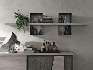 MODUS ML502, Estante en laminado y metal pintado, para sala de estar