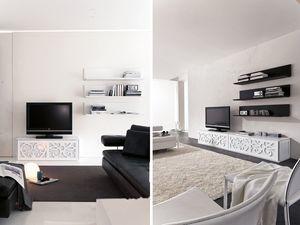 PARIS shelf, Estantería de los plástico lacado, para salas de estar y dormitorios