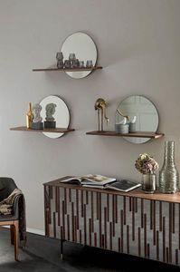SUNSET estante, Estante con espejo y estante de madera.