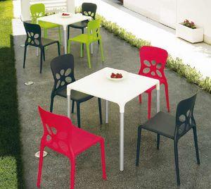 Stop, Mesa para exteriores, apilable, en aluminio y plástico