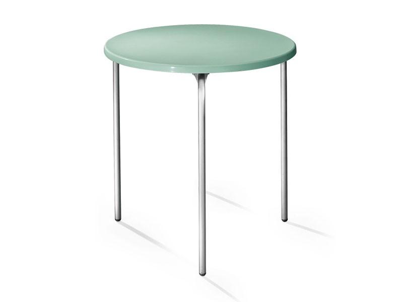 Table Ø 72 cod. 01, Mesa redonda, tapa en polipropileno, patas de aluminio