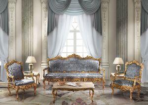 1009, Sofá de 3 plazas en el estilo clásico de lujo, acabados de pan de oro