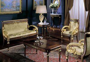 2715 COFFEE TABLE LUIGI XVI, Mesa de centro clásica, parte superior con incrustaciones de madera