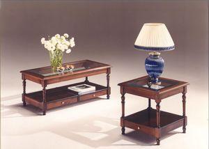 2980 TABLAS, Mesas de madera con tapa de cristal, de estilo clásico