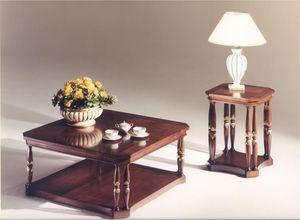 3035 TABLAS, Mesa de centro cuadrada de madera para salas de estar de estilo clásico