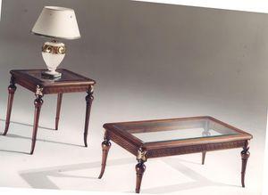 3040 TABLAS, Mesa de centro rectangular de madera con incrustaciones, tapa de cristal