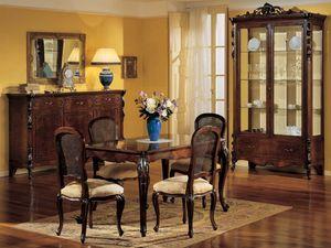 3085 TABLE, Mesa extensible rectangular, de estilo clásico de lujo, en madera de nogal