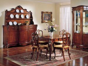 3145 TABLE, Mesa cuadrada extensible clásico, de madera de nogal