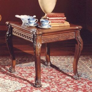 3175 TAVOLINO, Mesa de centro con tapa cuadrada en madera tallada, de estilo clásico
