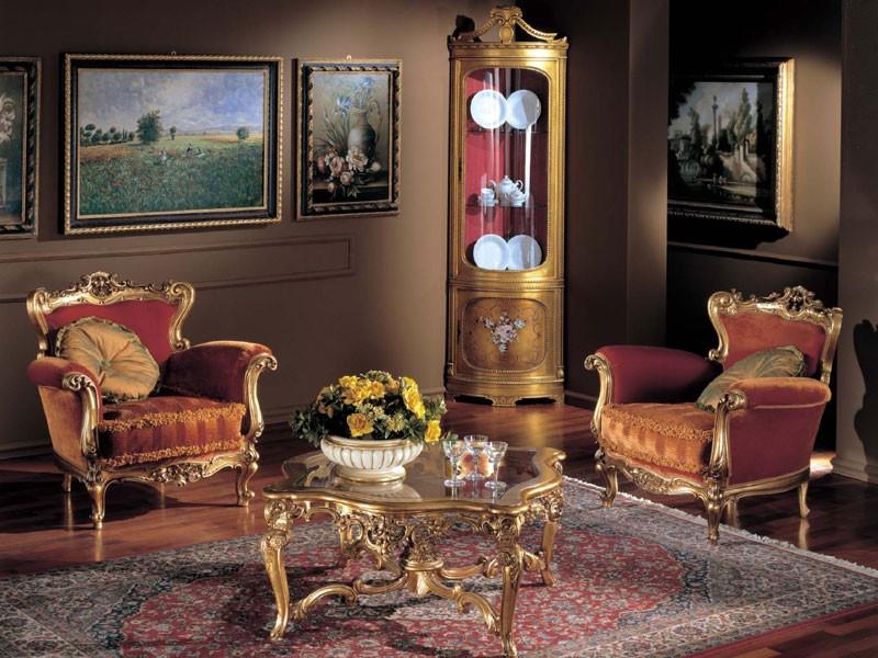 3195 COFFEE TABLE, Mesa de centro de madera, tapa de cristal, clásico