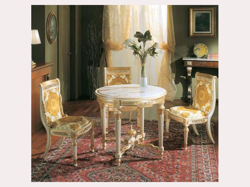 3280 TABLE LUIGI XVI, Mesa redonda con tapa de mármol de imitación, en madera tallada a mano