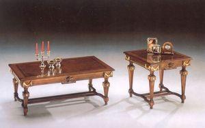 2820 COFFE TABLE, Mesa de centro de madera con líneas clásicas, pan de oro acabado
