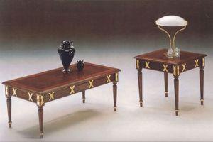2825 COFFE TABLE, Clásica tallada mesa de centro de madera, acabado en pan de oro