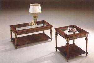 2945 COFFE TABLE, Mesa de café clásico en madera con tapa de cristal