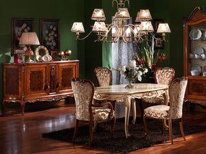 3440 TABLE, Tallada mesa ovalada, estilo Luis XV, acabados lacados
