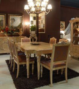 3485 TABLE, Mesa con sillas tapizadas para comedor, clásico de lujo