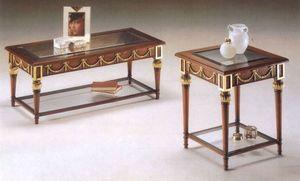 2575 COFFE TABLE, Mesa de centro de madera cl�sico, tapa de cristal
