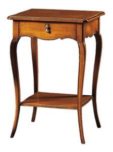 Anselmo FA.0141, Mesa de madera clásica con 2 estantes y 1 cajón