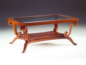 Art. 1385 Arca, Mesa de centro en madera, tapa de cristal, para un hotel