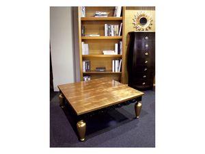 Art. 1797 Gustav, Mesa de café clásico, de madera, hoja de oro de acabado
