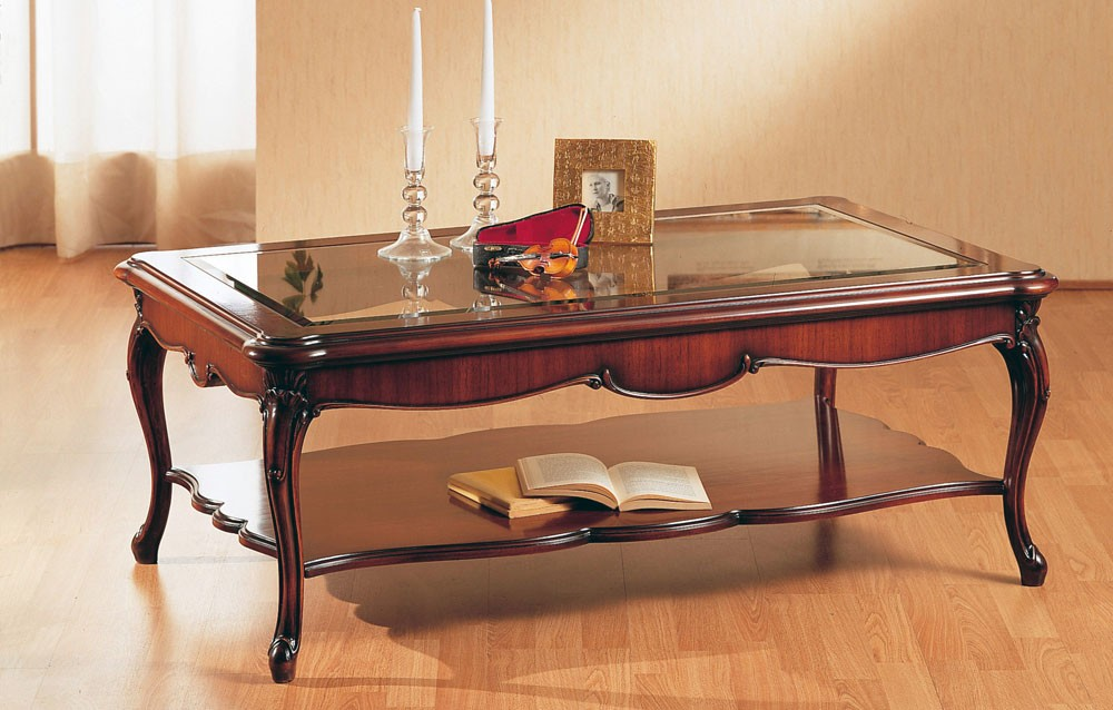 Art. 220/R, Mano decorada mesa de café, con tapa de cristal, para la sala de estar