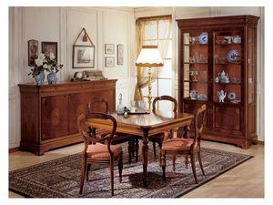 Art. 279 squared table '800 Francese, Mesas de comedor con patas decoradas a mano, para la decoración clásica