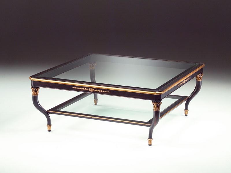 Art. 301/Q Mida, Mesa de centro de madera, tapa de cristal, para sala de estar