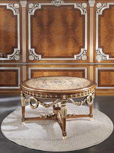 ART. 3098, Mesa redonda de lujo, con incrustaciones en oro.