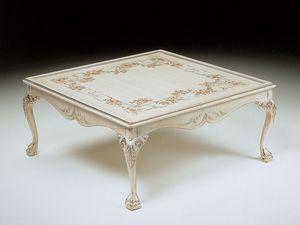 Art. 320/WD, Lujo mesa de centro cuadrada, decorada a mano, sala de estar