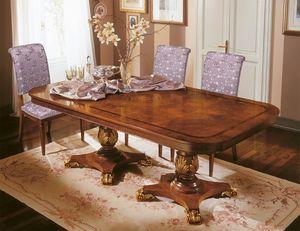 Art. 424/B, Lujo mesa extensible con decoraciones preciosas, tallado a mano