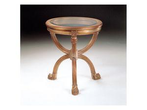 Art. 508 Atlante, Mesa redonda tallada, tapa de cristal, para salas de estar