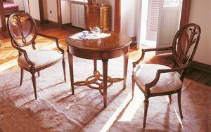 Art. 563/A, Mesa auxiliar en madera con incrustaciones de tapa redonda, para estancias clásicos