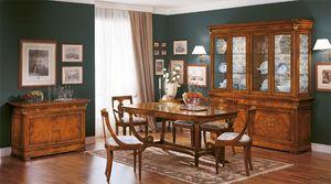 Art. 783, Mesa de comedor clásico, madera tallada, fabricado en Italia