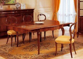 Art. 903 table '800 Francese, Mesas clásicas en madera trabajado, con extensiones