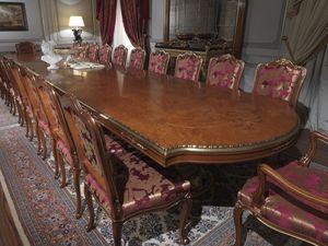 Art. 9090 tavolo, Mesa en madera de brezo, tapa con incrustaciones, de estilo clásico, para comedores