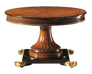 Boccaccino RA.0679, Mesa redonda en madera de nogal, tallado, extensible
