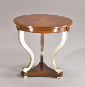 BOSTON Mesa 8449T, Ronda de la mano de mesa hecha a mano, en madera de haya, para la sala de estar