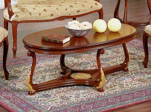Brianza mesa de centro con tapa de madera ovalada, Mesa de centro ovalada