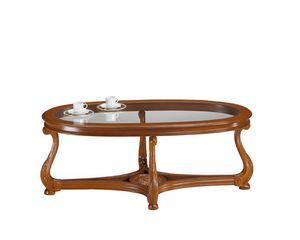 Brianza mesa de centro tapa de cristal ovalada, Mesa de centro de estilo clásico con tapa de cristal