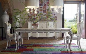 Carpi mesa, Mesa clásica, con acabado blanco y plateado