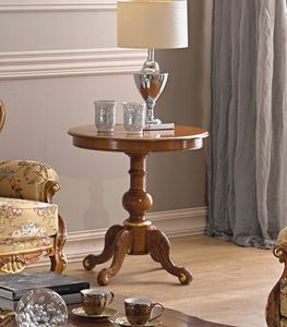 Chippendale mesa auxiliar, Mesa auxiliar redonda de madera