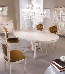 Chippendale mesa ovalada lacada, Mesa de comedor ovalada
