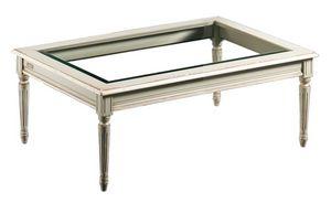Clemente FA.0127, Mesa de centro rectangular, tapa de cristal, estilo antiguo