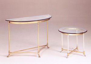 Como mesa de café, Mesa de centro de estilo clásico y lujoso, en latón y vidrio