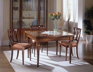 D 301, Mesa extensible de madera de cerezo, con incrustaciones, práctico
